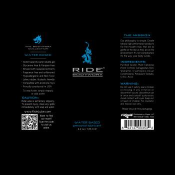 Ride BodyWorx Water Based 4.2oz - Label Graphic